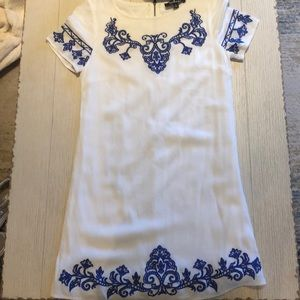 Lulus tale to tell blue ivory embroidered dress